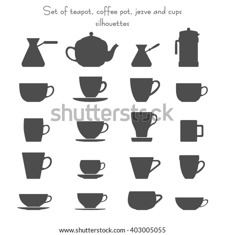 Vector illustration of 16 coffee and tea cups, cezves, teapot and french press set. Isolated dishes on white background. Fully editable collection for packaging design, decor and your other projects. - stock vector