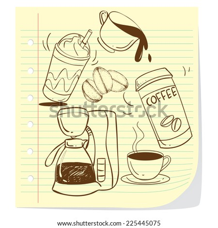 Vector illustration of coffee cups in doodle style - stock vector