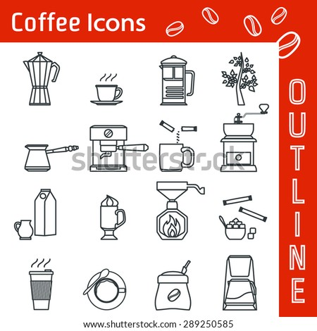 Vector Illustration of Coffee Icon Outline for Design, Website, Background, Banner. Cofee Beans and types Element Template for menu restaurant or inforgaphic.  milk with cup of Cappuccino or espresso - stock vector