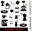 Vector illustration of coffee icons on white background - stock vector