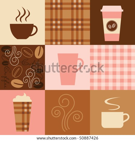 Vector illustration of coffee inspired elements. Seamless patterns (plaids and coffee beans) are included in swatch. - stock vector