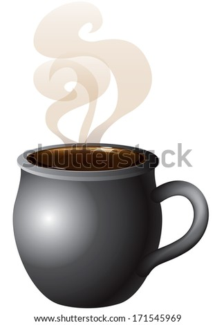 Vector Illustration of Coffee, Tea or Hot Chocolate mug steaming with smoke. - stock vector