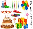 vector illustration of collection of Birthday items - stock vector