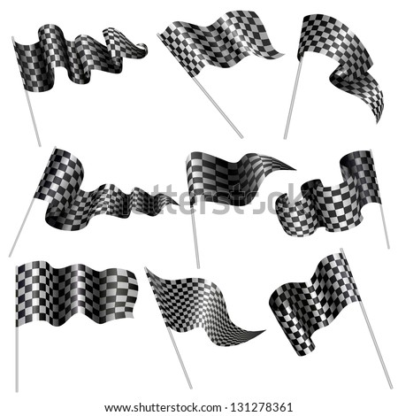 vector illustration of collection of checkered flag - stock vector