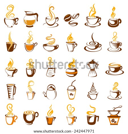 vector illustration of collection of coffee icon - stock vector