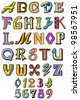 vector illustration of collection of colorful alphabet and number - stock vector