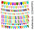 vector illustration of collection of colorful and bright bunting - stock vector