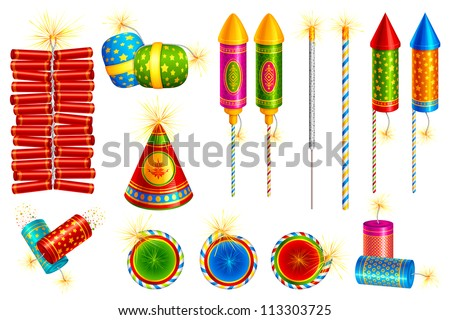 vector illustration of collection of colorful fire cracker - stock vector