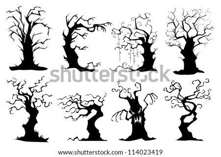 vector illustration of collection of colorful tree - stock vector
