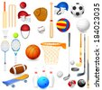 vector illustration of collection of different sports object - stock vector