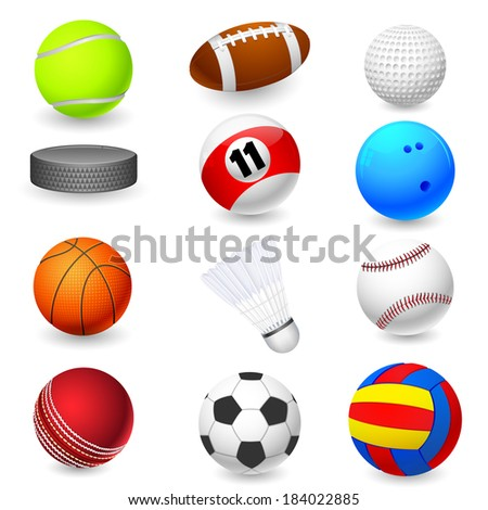 vector illustration of collection of different sports object