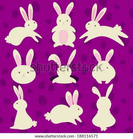 vector illustration of collection of Easter bunny isolated on purple background - stock vector