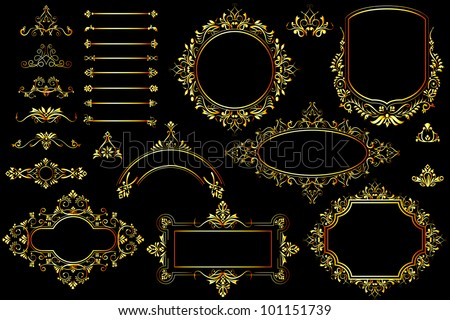 vector illustration of collection of golden vintage calligraphic design - stock vector