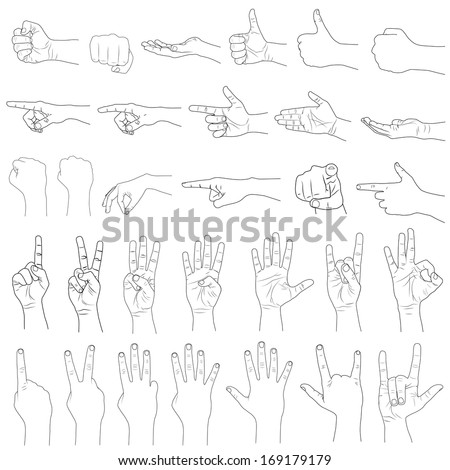 vector illustration of collection of hand gestures - stock vector