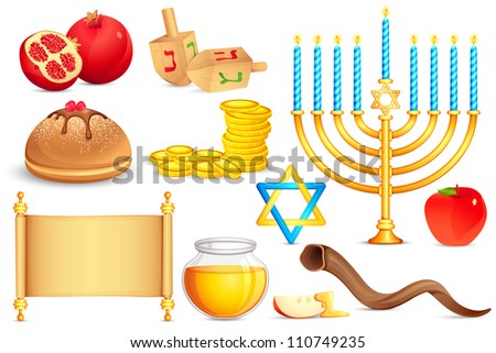 vector illustration of collection of Jewish holy object for festival - stock vector