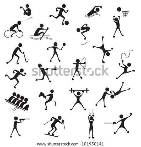 vector illustration of collection of many sports icon - stock vector