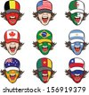 Vector illustration of collection of screaming faces with flags on caps. Easy-edit layered vector EPS10 file scalable to any size without quality loss. High resolution raster JPG file is included.  - stock vector