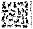 vector illustration of collection of Silhouette of Cat - stock vector