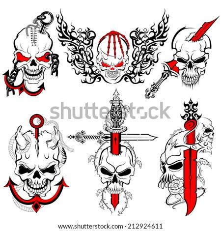 vector illustration of collection of skull tattoo design - stock vector