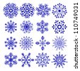vector illustration of collection of snowflake design - stock vector