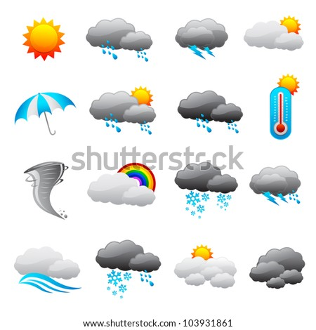 vector illustration of collection of weather forecast icon - stock vector