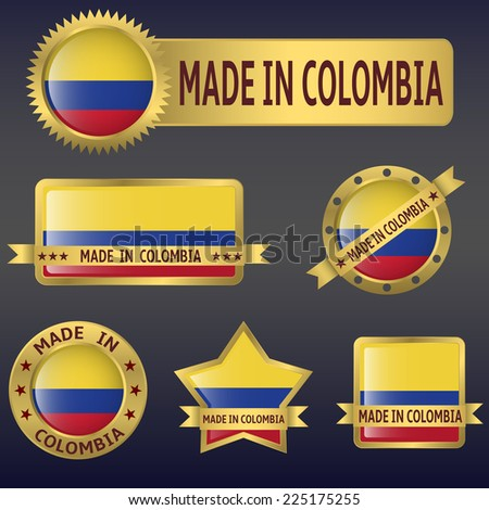 Vector illustration of Colombia american country flag and badges set - stock vector