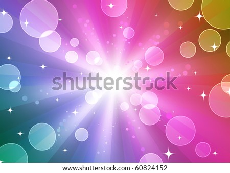 Vector illustration of color abstract background with blurred neon light dots - stock vector