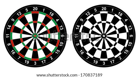 Vector illustration of color and black and white dartboard for darts game isolated on white background - stock vector