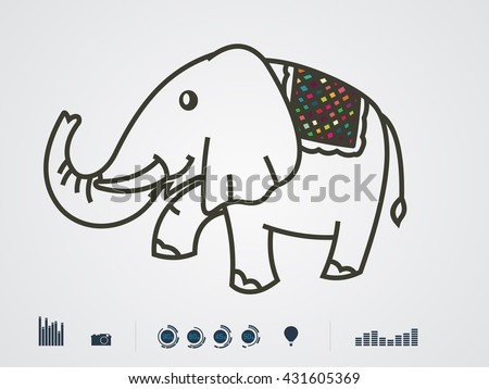 Vector illustration of color Elephant  - stock vector