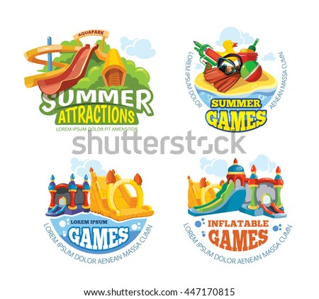 Vector illustration of color emblems with toys for summer games on playground. Aquapark Advertise labels with place for your text. Pictures isolate on white background - stock vector