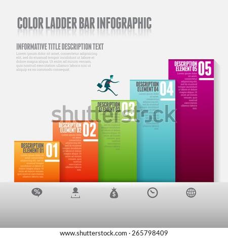 Vector illustration of color ladder bar infograpic design elements. - stock vector