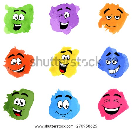vector illustration of color patches with emotional faces