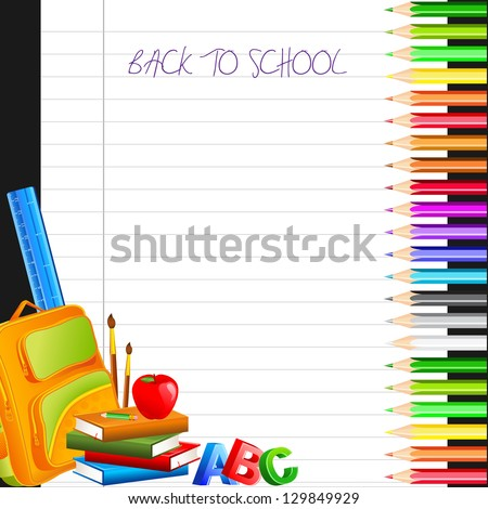vector illustration of color pencil with bag and book - stock vector