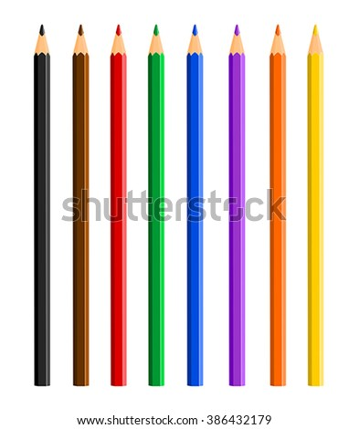 Vector illustration of color pencils on white background - stock vector