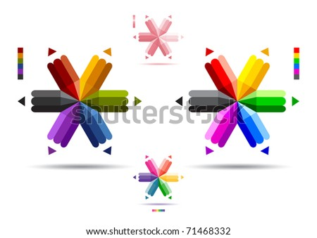 Vector illustration of color pencils with six ends. - stock vector