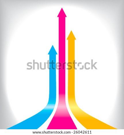 Vector illustration of color print arrows - stock vector