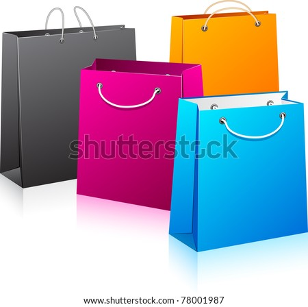 Vector illustration of  color shopping bags. No transparency. Eps8 Only. - stock vector