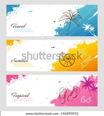 Vector illustration of Color summer set with splash - stock vector