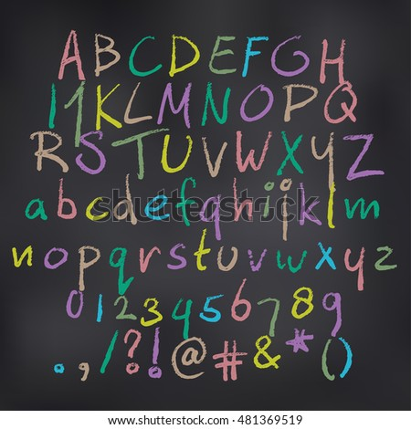 Vector illustration of colored alphabet in chalk