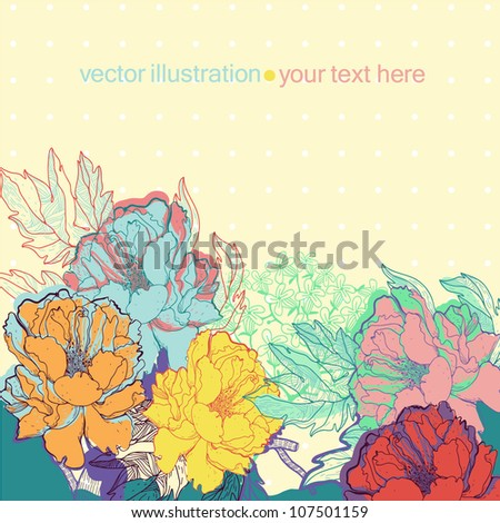 vector illustration of colored blooming roses