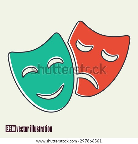 Vector illustration of colored comedy and tragedy theater masks - stock vector