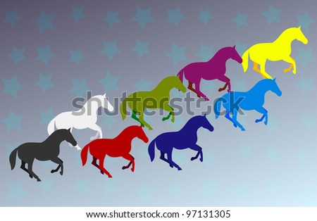 Vector illustration of  colored group of horses with starry background