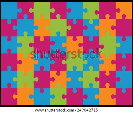 Vector illustration of colored  jigsaw puzzle 3, separate pieces - stock vector
