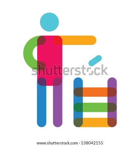 Vector illustration of colored man and recycled bin