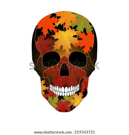 Vector illustration of colored maple leaves on the skull - stock vector