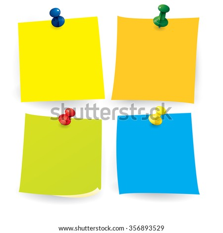 Vector illustration of colored note paper with push pin isolated on white