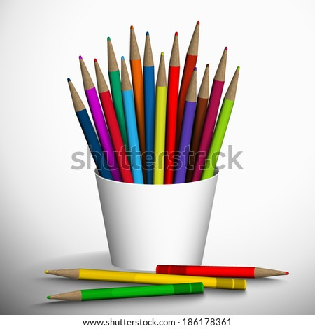 Vector illustration of colored pencils in the stand.