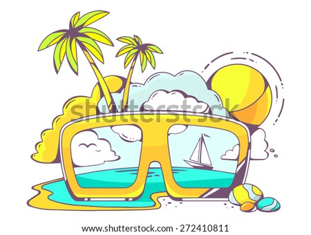 Vector illustration of colored sunglasses with sea view on light background. Hand draw line art design for web, site, advertising, banner, poster, board and print.   - stock vector