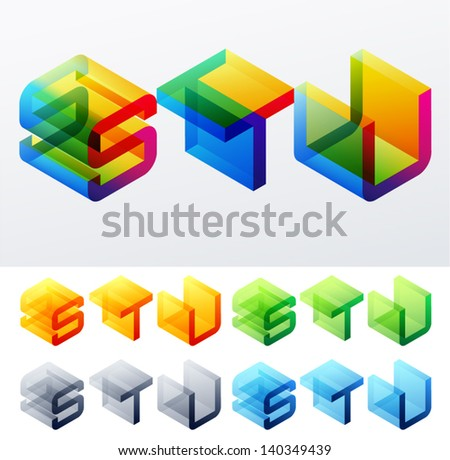 Vector illustration of colored text in isometric view. Cube-styled monospace characters. letters S T U - stock vector