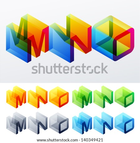 Vector illustration of colored text in isometric view. Cube-styled monospace characters. M N O - stock vector
